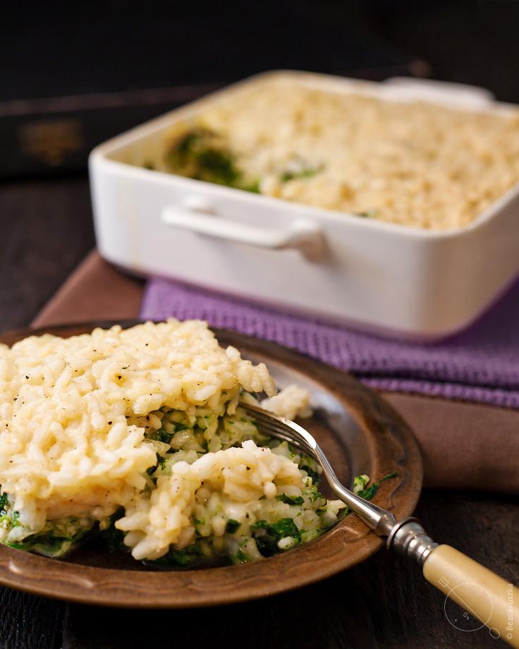 Zapiekanka z ryżem i szpinakiem