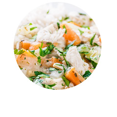 Potrawka z kurczaka bezglutenowa z ryżem basmati i estragonem