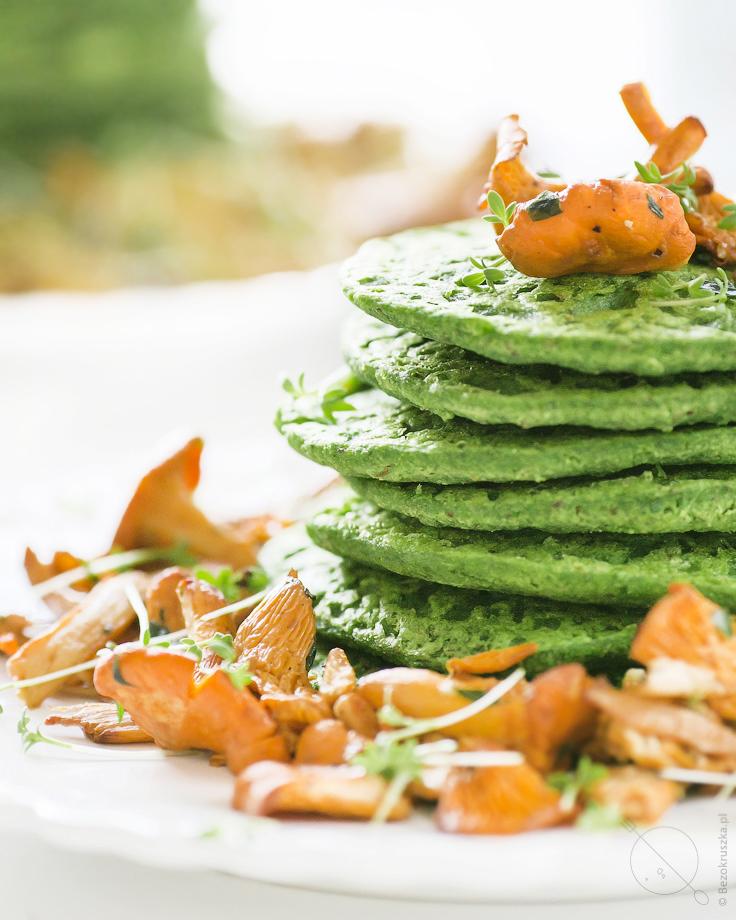 bezglutenowe weganskie szpinakowe pancakesy z kurkami