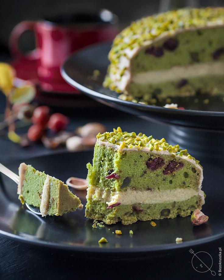 bezglutenowe ciasto pistacjowe ze szpinakiem
