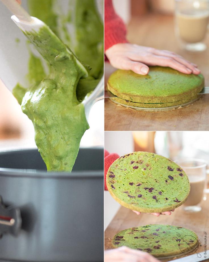 Bezglutenowe ciasto pistacjowe ze szpinakiem i żurawiną